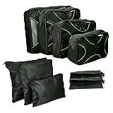 Navaris Koffer Packtaschen Set 9-teilig - Kleidertaschen Schuhbeutel Wäschebeutel Reise Gepäck Organizer - Travel Packing Cubes Schwarz Grün