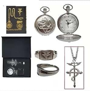 Poche Fullmetal Alchemist anneau de collier de montre de trois pi?ces ensemble en bo?te (japon importation)