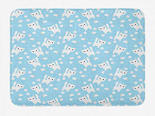 KAKICSA Baby Bath Mat, Amusing Feline Cat with Yarn Ball and Mouse Sketch Predator Instincts Dotted Backdrop, Plush Bathroom Decor Mat with Non Slip Backing, Blue Cream,19.6X31.4 inch -