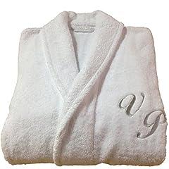 Idea Regalo - BgEurope Accappatoio senza cappuccio, in spugna di cotone, personalizzabile, bianco, 100% Cotone, bianco, small