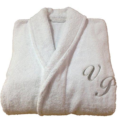 Personalisierte Monogramm + Name Schalkragen Baumwolle Terry Frottee weiß Bademantel, 100% Baumwolle, weiß, S (Baumwolle Monogramm-bademantel 100)