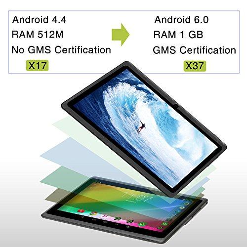 iRULU eXpro 3 Tablet (X3),Google Android 6.0,Quad Core,HD 1024x600,Dual Kamera WiFi 8GB 3D Spiel unterstützt,7 Zoll Tablet mit GMS Certified (Schwarz 8GB)