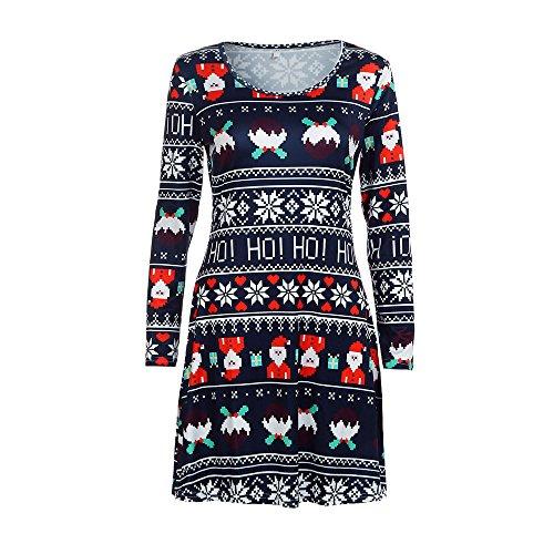 TUDUZ Damen Weihnachten Langarm Santa Kleid Santa Abendkleid Swing Festlich Minikleid Partykleid