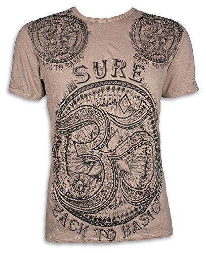 Sure Herren T-Shirt Om Aom Symbol Heiliges Buddhismus Hinduismus Yoga Zeichen (Khaki Braun M)