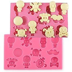 11orificios Calavera silicona de galletas cortadores Fondant Decoración para tartas