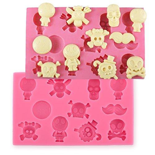 Silikon Fondant cakecrafts Cookies Seife Cutter Totenkopf Mottoparty Form DIY Werkzeug (Einfache Und Halloween-cookies Cupcakes)