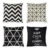 Uarter dekorative Case Set Baumwolle Leinen Dekokissen deckt Kissenbezug mit unsichtbaren Reißverschluss, geometrische Muster, schwarz und weiß, 18''x18 '', 4er Set