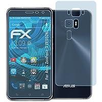 atFoliX Lámina Protectora de Pantalla para Asus ZenFone 3 (ZE552KL) Película Protectora - Set de 3 FX-Clear ultra transparente Protector Película