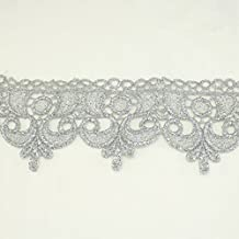 Puntilla metálica ondulada plateada de 60 mm, encaje para bodas, encaje diseño con acento