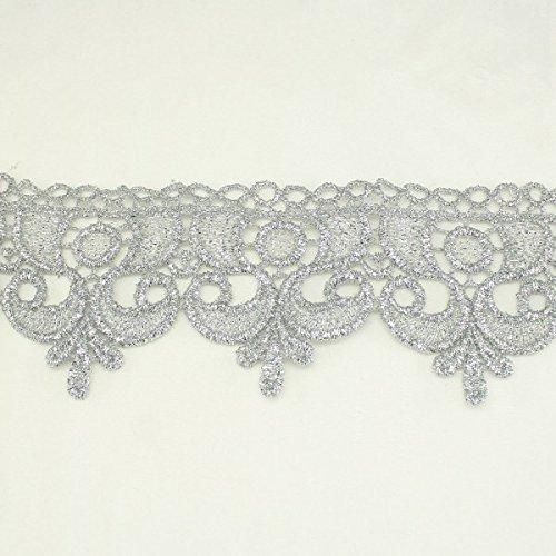 Puntilla metálica ondulada plateada de 60mm, encaje para bodas, encaje diseño con acento de sombrerería, accesorios para el cabello y para vestido de bodas por Annielov #332