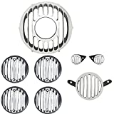 #4: AllExtreme Headlight Projector Grill,Tail,Indicator,Eyes Light Grill for Royal Enfield Bullet Classic 350/500 CC (Silver /Black Set of (8 Pcs.)