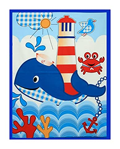 Lovely Pure Cotton Fabric Panel for Nursery/Children/Babies Cot Quilt/Wall Hanging/Play Mat --- Adorable Nautical Themed Pattern