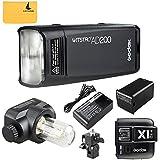Godox AD200 200Ws 2.4G TTL Flash Strobe 1/8000 HSS Sin Cable Monolight con 2900mAh Litio Batería y Bolsillo Flash Cabeza +Godox X1T-N Flash Disparador para Nikon cámara Flash para Cubra 500 Completas Potencia Tiros y recicle en 0.01-2.1 Sec(AD200+X1T-N)