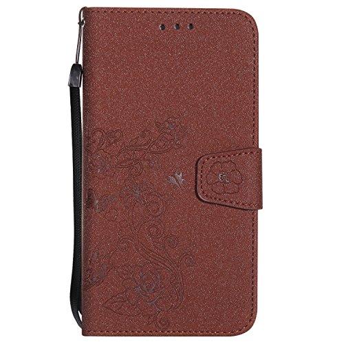 Hülle für iPhone 7 plus , Schutzhülle Für IPhone 7 Plus, abnehmbare 2 In 1 PU + TPU Ledertasche geprägte Blumen Stil glänzende Scheine Brieftasche Stand Case Cover mit Kreditkarte Slots & Lanyard & Ma Brown