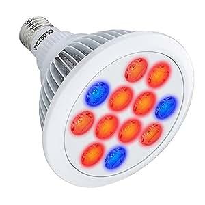 VicTsing 36W Lampe de Croissance E27 12 LED Ampoule de Culture Floraison Ampoules de Serre pour Plantes de Jardin/Serre/Greenhouse/Glasshouse (Lumière Rouge et Bleue)