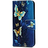 Case for Huawei Y7 2019, 3D Shockproof PU Leather Flip Notebook Wallet Case Kickstand Card Slots Money Pouch Soft TPU Bumper Protective Slim Cover Skin for Huawei Y7 2019 Blue Butterfly