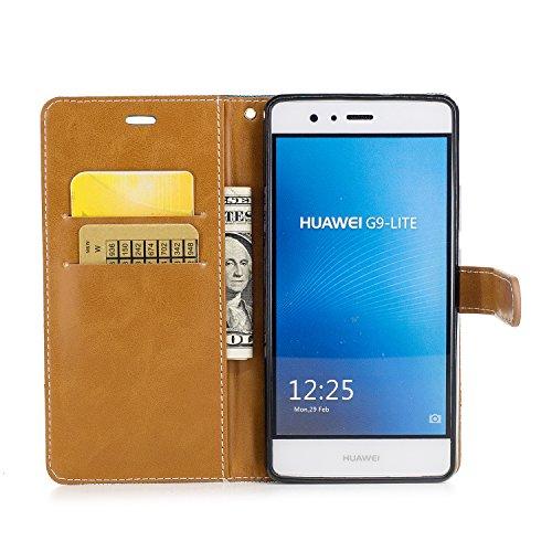 Custodia per Huawei P9 Lite, ISAKEN Flip Cover per Huawei P9 Lite con Strap, Elegante Bookstyle Contrasto Collare PU Pelle Case Cover Protettiva Flip Portafoglio Custodia Protezione Caso con Supporto  Marrone+blu