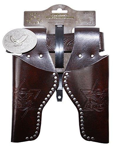 Schrödel J.G. Gürtel Eagle mit Nieten und 2 Holster: Pistolengürtel aus Lederimitat und Metall für Spielzeugpistolen, 95-135 cm, braun (750 0156) -