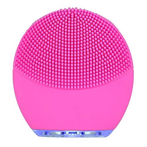 Exfoliateur en silicone électrique nettoie la brosse, instrument de nettoyage Nettoyage ultrasonique des instruments de lavage des poresFilles pour nettoyer le visage (Couleur : Rose rouge)