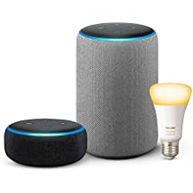 Echo Plus (2nd Gen - Grey) bundle with Echo Dot (3rd Gen - Black) and Philips Hue 9.5W Smart Bulb