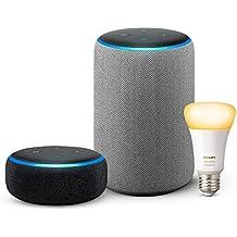Echo Plus (2nd Gen - Grey) bundle with Echo Dot (3rd Gen - Black) and Philips Hue 9.5W Smart Bulb