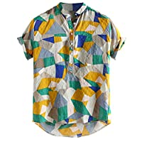 Lazzboy Men Shirt Top Plus Size Multicoloured Colour Print Plus Size Graffiti Short Sleeve Buttons Loose Blouse(XL,Green-Geometric)