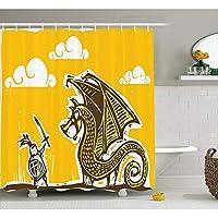 YUSHIYL Dragon Shower Curtain Knight with Shield in against Dragon with Wings Cartoon Design Fabric Bathroom Decor