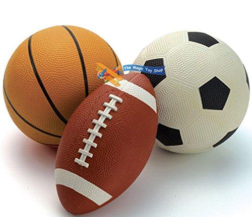 3x Sport Bälle-Rugby Basketball Fußball Kinder Outdoor Toy Play Set für Kinder (Cooler Schreibtisch Spielzeug)