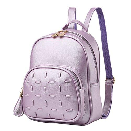 Nappe Zaino A Tracolla Borse Da Viaggio Zaino In Pelle PU Donne Ragazze Moda Multicolore Purple