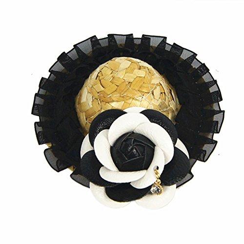 meiqing Pet Hund Stroh hat Dekorationen Funny Sombrero Kostüm handgefertigt Gras Classic Hat 10cm/4inch schwarz (Mini Dackel Kostüm)