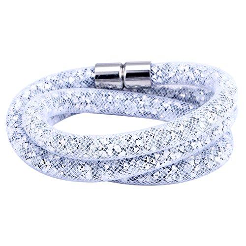 Morella Damen Strass Glitzer Wickelarmband oder Halskette mit Magnetverschluss weiß