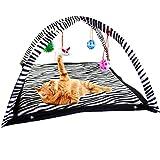 ZIME cebra patrón gatito cama vivo gato centro de actividad con bolas de juguete colgantes, ratones y más – ayuda a los gatos a hacer ejercicio y mantenerse activo