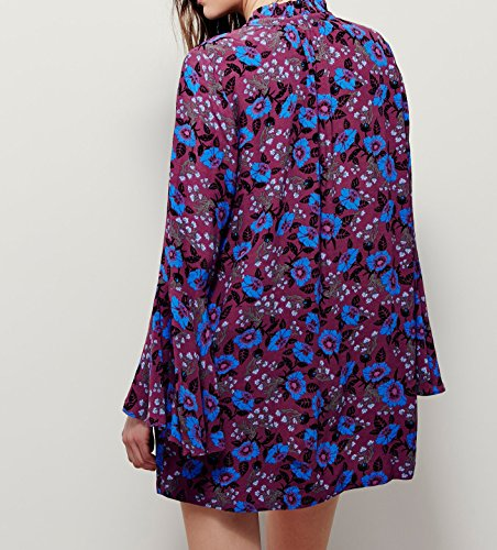Damen Sommer Drucken Tiefem V-Ausschnitt Hemd Kurzes Kleid Lila