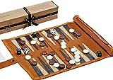 Jaques of London Backgammon Set - Traditional Tan Design Genuine Leather Backgammon Set