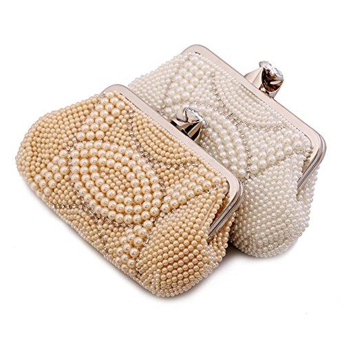 ERGEOB® Donna Clutch sacchetto di sera borsetta fatto a mano perla Clutch diamante Anello fibbia sacchetto di sera bianco