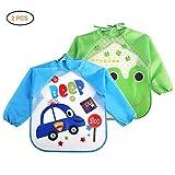 Mallalah 2 PCS Babero de Manga Larga Impermeable Apto para Bebe Menor de 4 años(coche azul +...