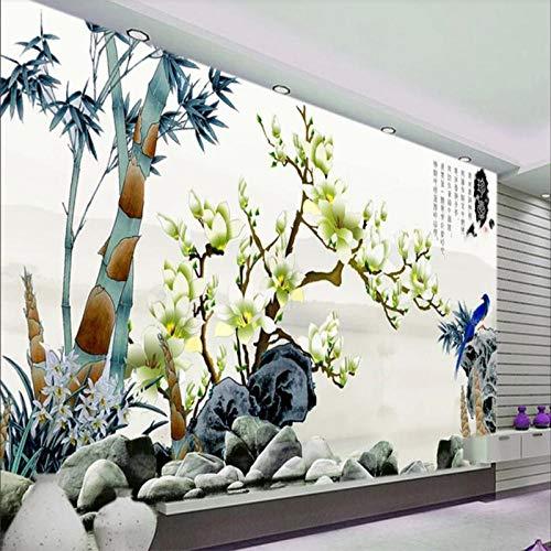 Lyqyzw Tapezieren Sie Kundenspezifisches Wohnzimmer-Schlafzimmerwandgemälde 3D Tintenvogel Der Chinesischen Art Weiße Magnolienwohnzimmer Fernsehhintergrundwand 250X175Cm