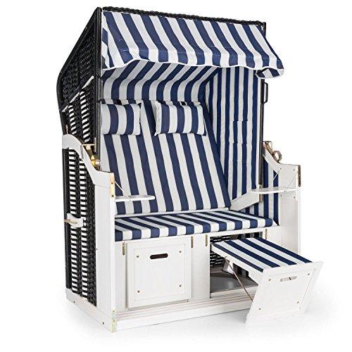 blumfeldt Hiddensee Strandkorb XL - Strandstuhl, 2-Sitzer, Volllieger, 5-stufig absenkbare Haube, ausziehbare Fußstützen mit Polster, 2 Nackenkissen, Klapptische, Kiefernholz, blau-weiß -