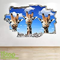 1Stop Graphics Shop GIRAFFE FUNNY WALL STICKER 3D LOOK - BEDROOM LOUNGE NATURE WALL DECAL Z658