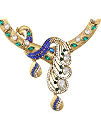 Dancing Girl Bridal Peacock Blue Green Metal Alloy Jewellery Set With Necklace And Earring For Women