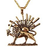 Gold PT Shir khorshid Lion Sun Sword Pahlavi Halskette Kette iranischen Persischen Geschenk, gold, Large