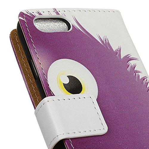 Voguecase® für Apple iPhone 7 4.7 hülle,(Gelb Leopard) Kunstleder Tasche PU Schutzhülle Tasche Leder Brieftasche Hülle Case Cover + Gratis Universal Eingabestift Lila Monster