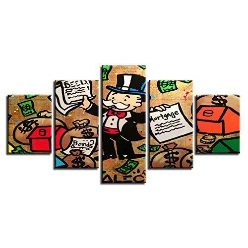 TJJQT 5 Leinwanddrucke Hd gedruckt Poster leinwand 5stücke CartoonMann Geld Tasche und Brief malerei Kunst dekor Wohnzimmer wandbild Drucke auf Leinwand