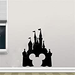 Idea Regalo - adesivo murale adesivo muro Mickey Mouse Wall Sticker Decal Castello Mickey Mouse Adesivo Home Decor Rimovibile Wall Sticker Vinyl Camera da letto vivaio