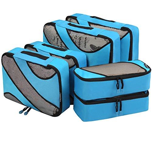Sechs teiliges Set Würfel Paket Leichte Tasche Aufbewahrungstasche Reise Gepäck Multipurpose Kleidertaschen mit Reissverschluss Reisetachen Gepäcktasche Wäschebeutel Blau (Gepäck-set Leichtes)