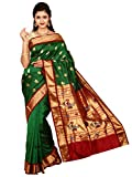 Indian Silks Peacock Design Women's Paithani Handloom Pure Silk Saree, With Unstitched Blouse Piece(Green)
