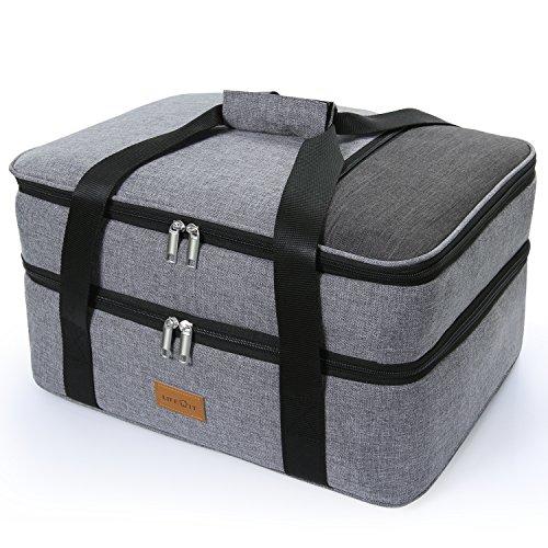 Lifewit Große Kühltasche Thermotasche Multifunktion Picknicktasche mit Zwei Fächern für Aufbewarung des Warmen und Kalten Essen Grau (2 Fächer)