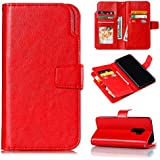 Samsung Galaxy S9 Plus Wallet Case, Danallc Samsung Galaxy S9 Plus Flip Case, Classy Slim Leather Wallet, ID Credit Card Slot Holder For Samsung Galaxy S9 Plus - Red