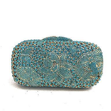 KUKIE Best 4U® Damen Taschen Glas Metall Abendtasche Kristall Verzierung für Hochzeit Veranstaltung Fest Frühling Herbst Blau - Satin-kristall-glas