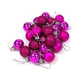 kleine Minni Dekokugeln Weihnachten Weihnachtskugeln Kugeln matt glänzend glitzernd 24 Stück 3cm Beere pink